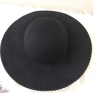 Accessories - Floppy Hat With Faux Leather Detailing.
